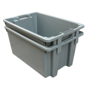 orange plastic storage tubs